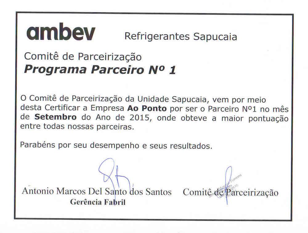 Certificado parceria - Ambev Sapucaia-ed